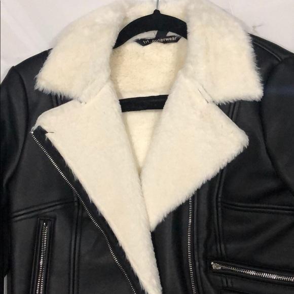 Zara Black Leather Jacket with White Fur Inside S